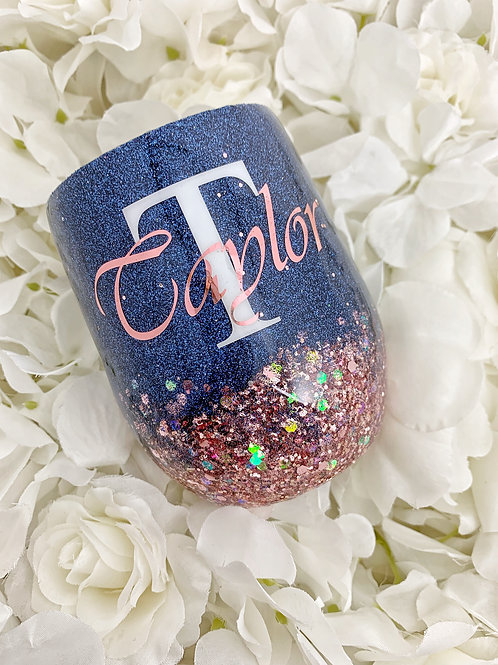 Navy and Rose Gold Glitter Tumbler