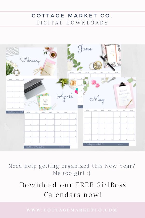 Free 2020 Calendar, Monday start, free printable calendar, girl boss, lady boss, women office calendar, mom calendar, digital download