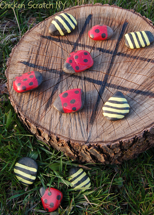 tictactoe boards, lady bugs, painted rocks, DIY arts and crafts, backyard games