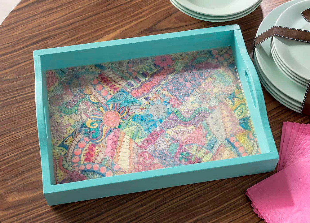 image lined tray, DIY upcycled tray, printables