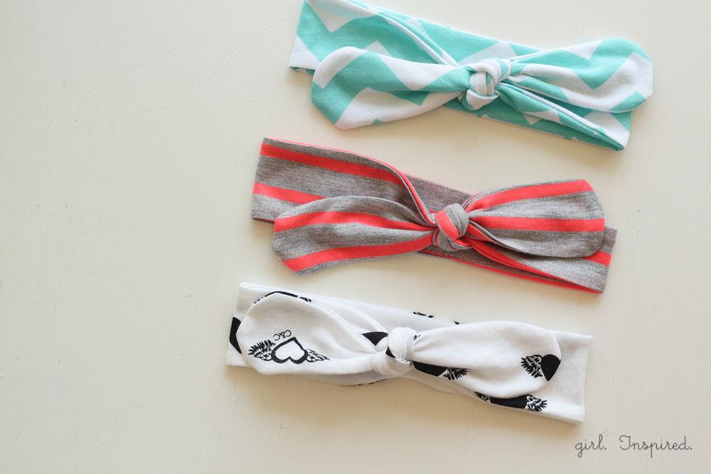 knot headbands, diy headbands, diy hair ties, no sew bows, no-sew headbands, jersey cotton, little girl hair pieces