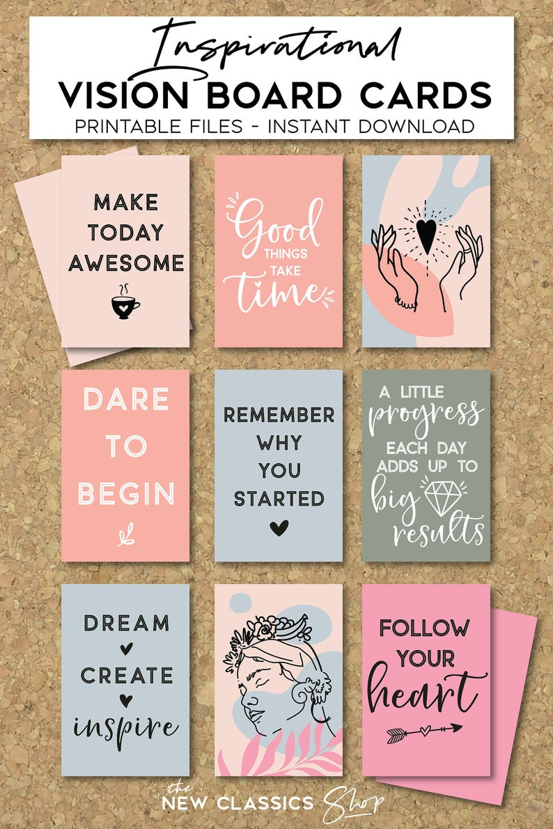 inspirational cards, vision board, printable quotes, instant download cards