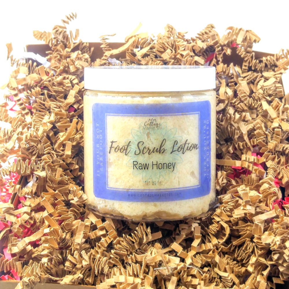 Foot Scrub Lotion, raw honey lotion, organic pedicure, natural skin care, summer skin must-haves