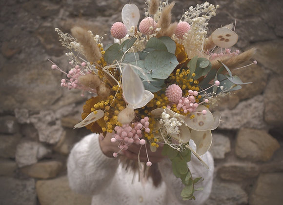 bouquets fleurs séchées blanc, jaune et rose