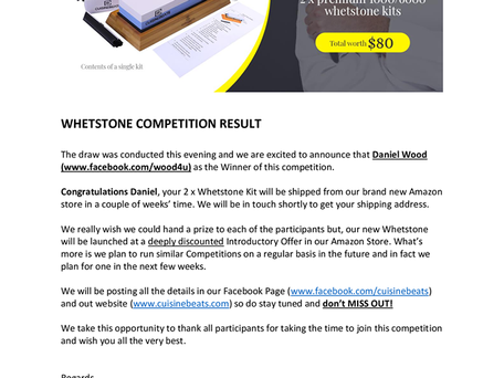 CuisineBeats Whetstone Competition Result - Jan 2020