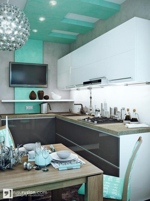 น่ารักจัง ! ห้องครัวสีเขียวมินท์ สลับปูนเปลือย4.jpg