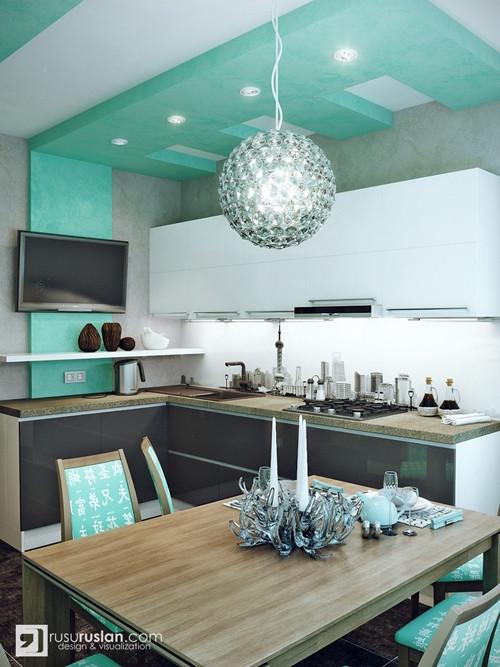น่ารักจัง ! ห้องครัวสีเขียวมินท์ สลับปูนเปลือย2.jpg