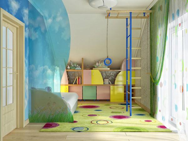 แบบห้องนอนเด็กสีสดใส กับผนังลายท้องฟ้า2.jpg