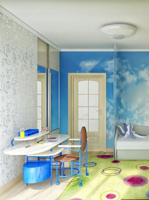 แบบห้องนอนเด็กสีสดใส กับผนังลายท้องฟ้า6.jpg