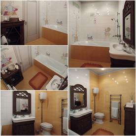 ห้องน้ำสีส้ม-ขาว ตกแต่งด้วยเฟอร์นิเจอร์วินเทจ