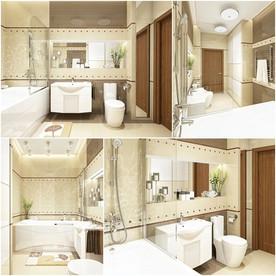 ห้องน้ำเล็กทีมสีน้ำตาล ผสมผสานกับอ่างอาบน้ำไว้ให้แช่พักผ่อน