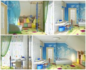 แบบห้องนอนเด็กสีสดใส กับผนังลายท้องฟ้า