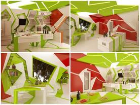 ล้ำ! ห้องครัวสีเขียวลายกราฟฟิก จากยุคอนาคต
