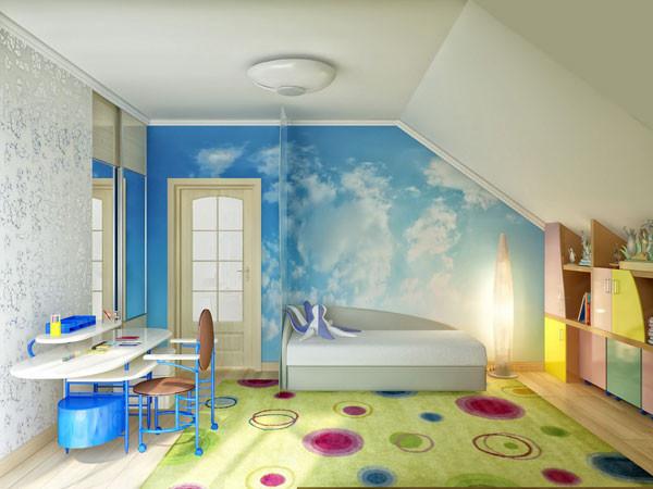 แบบห้องนอนเด็กสีสดใส กับผนังลายท้องฟ้า4.jpg