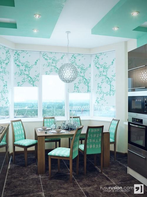 น่ารักจัง ! ห้องครัวสีเขียวมินท์ สลับปูนเปลือย3.jpg