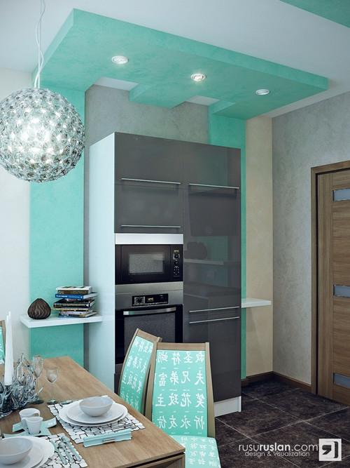 น่ารักจัง ! ห้องครัวสีเขียวมินท์ สลับปูนเปลือย5.jpg