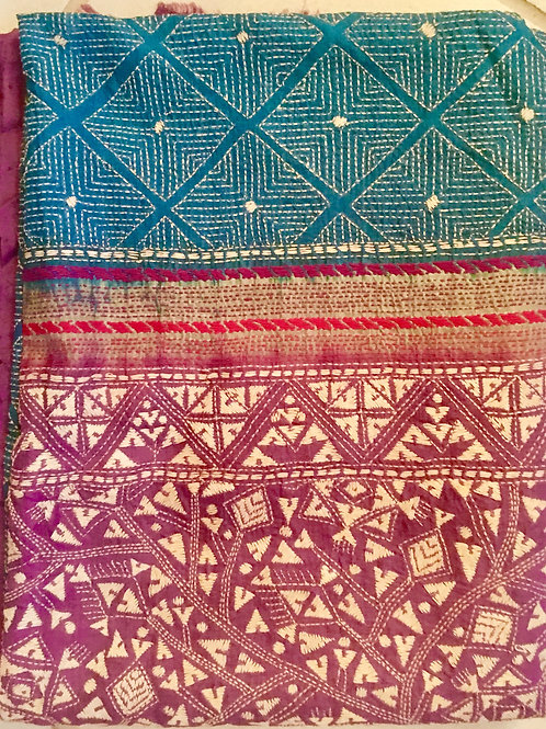 Large Bengali Silk Shawl 02