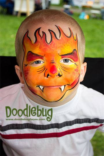 Doodlebug face painting fire boy.jpg