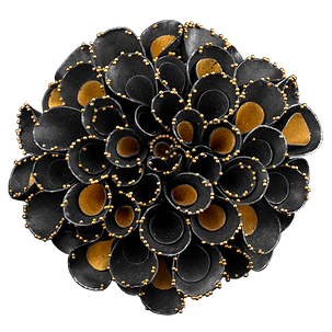A brooch/pendant made with oxidized sterling silver, 24 karat gold overlay, and granulation