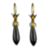 Dangling drop earrings made with 22 karat gold caps, textured silver beads, and black agate drops