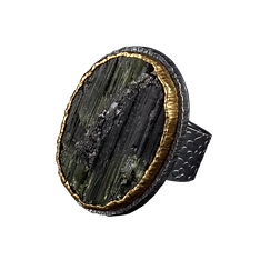 A ring with an oval surface tourmaline, a double silver and gold bezel, and a textured silver bezel