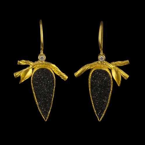 Twig and Leaf Druzy Earrings
