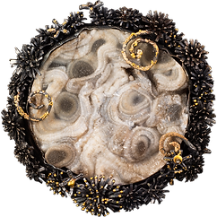 A brooch/pendant made with gold granulation, oxidized sterling silver tufts, and a large druzy agate