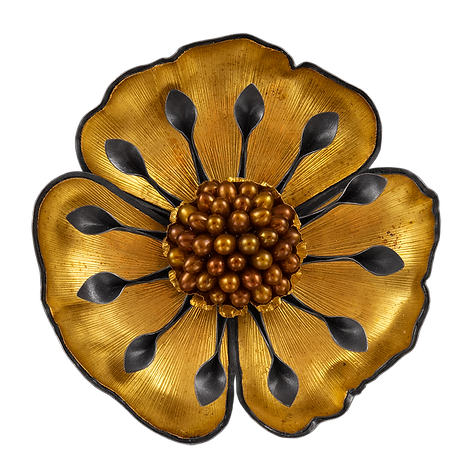 A brooch/pendant made with hand textured gold overlay petals, sterling silver, and copper pearls