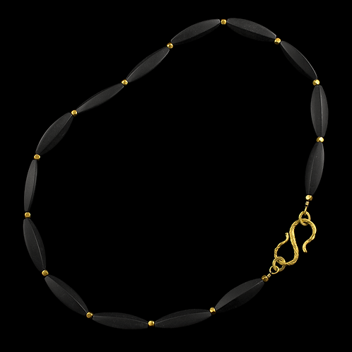 Onyx Strand with Gold Beads