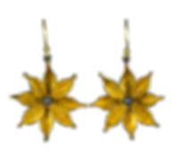Dangling earrings with gold overlay textured flowers