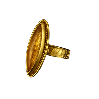 An 18 karat gold ring with a narrow textured band, 22 karat gold granules, and an imperial topaz marquise cabochon