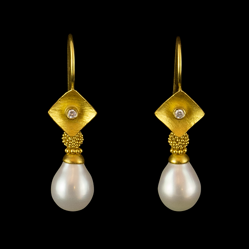 Pearl with Granulated Ball Earrings