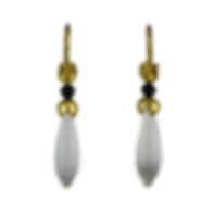Dangling drop earrings made with 22 karat gold caps, black spinel beads, and clear quartz drops