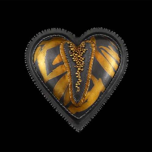 Heart with Granulated Crack Brooch/Pendant