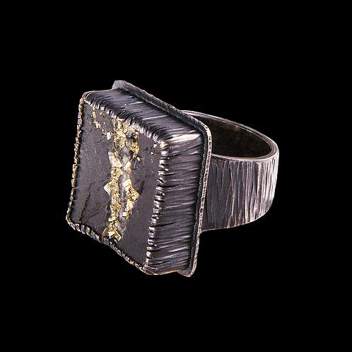 Pyrite in Schist Ring