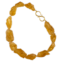 A strand of large raw citrine stones with a 18 karat gold twig s clasp