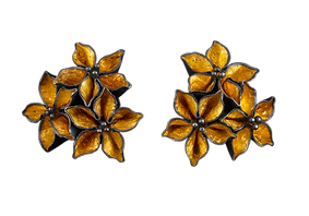 Post earrings with three gold overlay textured flowers