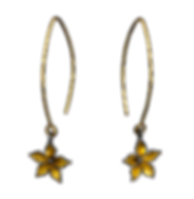Dangling earrings with 18 karat gold wires and gold overlay flowers