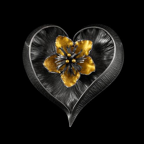 Heart Brooch/Pendant with Vineflower