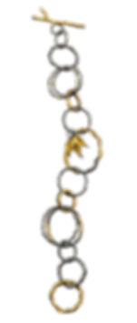 A twig textured chain link bracelet made with oxidized silver and high karat gold.