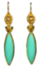 Dangle earrings with teal blue chalcedony marquis cabochons, diamonds, and 22 karat gold granulated tufts