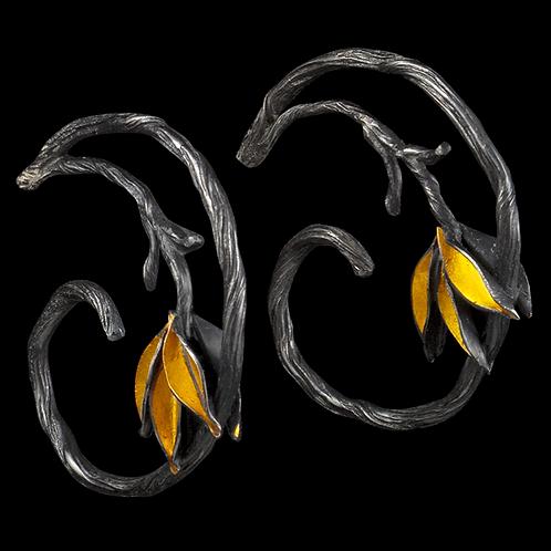 Small Twig and Leaf Hoop Earrings