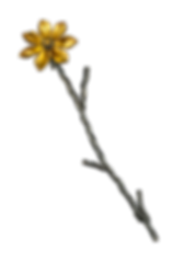 A twig textured stick pin with a hinged gold overlay flower