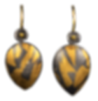 Dangle earrings with gold and silver hollow forms