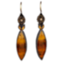A pair of dangling earrings made with oxidized sterling silver, gold, small diamonds, and montana moss agate marquise cabachons
