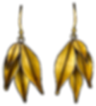 Dangling earrings made with four gold overlay leaves