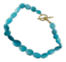 A strand of Sleeping Beauty turquoise strand with a 22 karat gold clasp with a twig texture