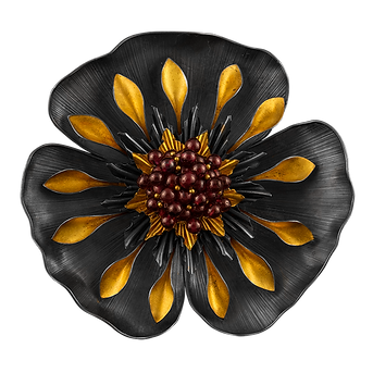 A tropical flower brooch and pendant made with oxidized sterling silver, 24 karat gold, and garnets