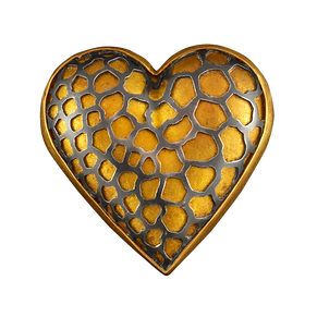 A heart shaped hollow form brooch/pendant with sterling silver cutout and gold bezel
