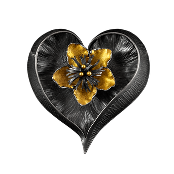 A heart shaped brooch/pendant made with hand textured sterling silver, a gold overlay flower, and gold balls